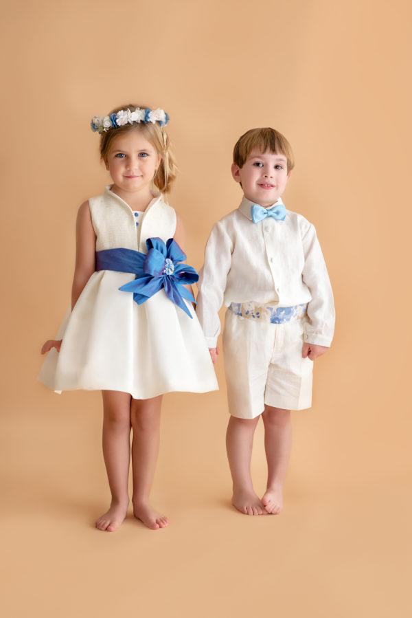 Vestido de arras fajín azul Chantal