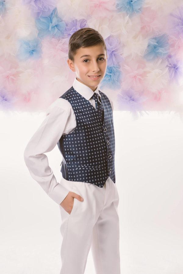 Chaleco estampado y corbata Adei