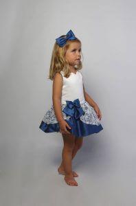 Sofía vestido para arras blanco y azul