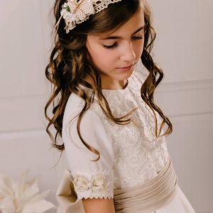 vestido de comunión gasa Caterina