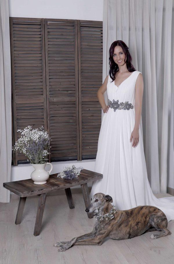 Vestido Orlena novia de estilo griego