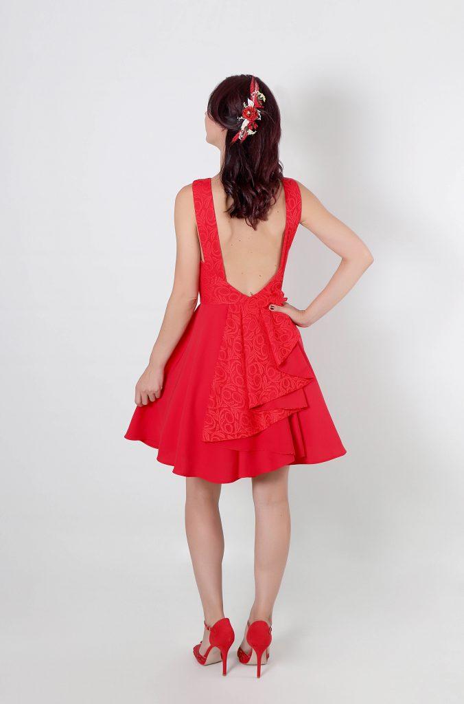 Vestido de fiesta Paty con escote en espalda