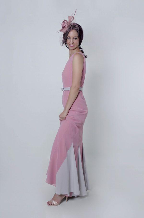 Vestido Rosseta invitada con escote asimétrico