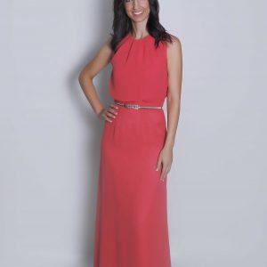 Nydia en coral vestido de fiesta