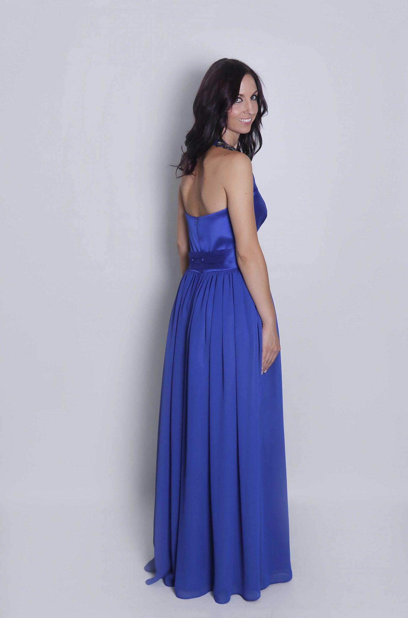 Vestido azul cuello halter