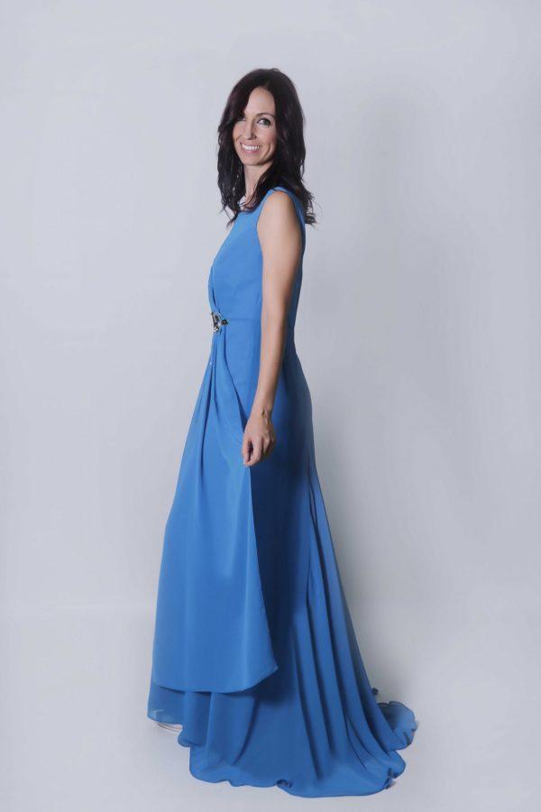 Zia vestido azul con pedrería de Swarovski para fiesta