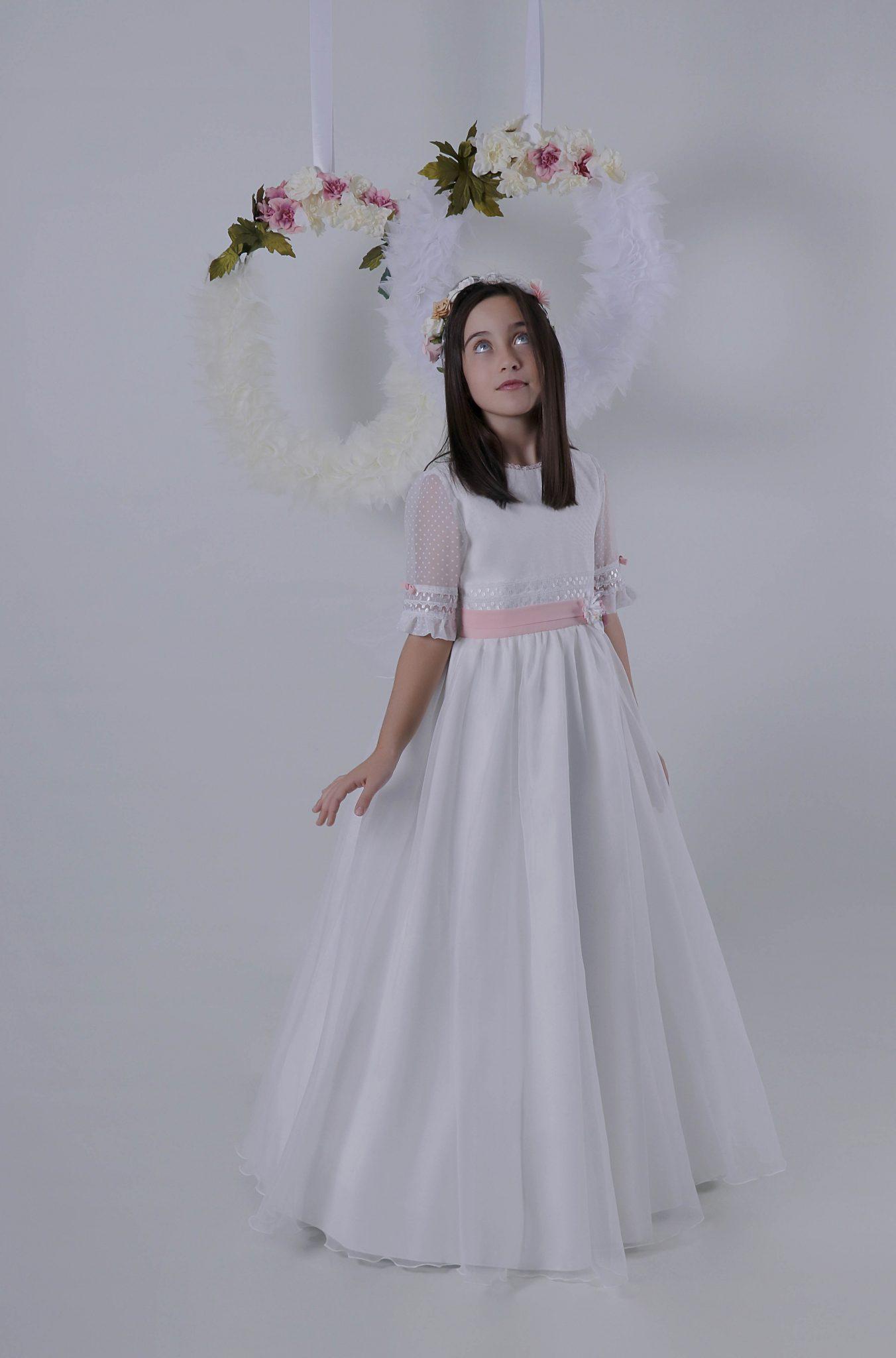 Vestidos de comunion con fajin rosa