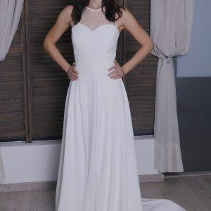 Vestido novia con sobrefalda