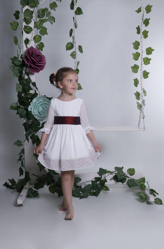 Vestido fiesta para niña en gasa blanco con manga modelo Paz