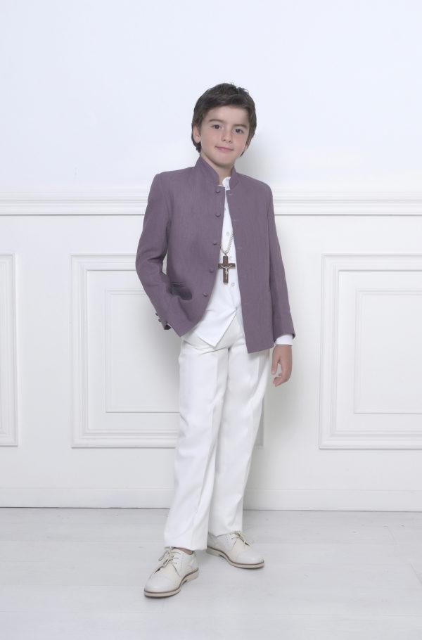 Traje chaqueta mao niño lino
