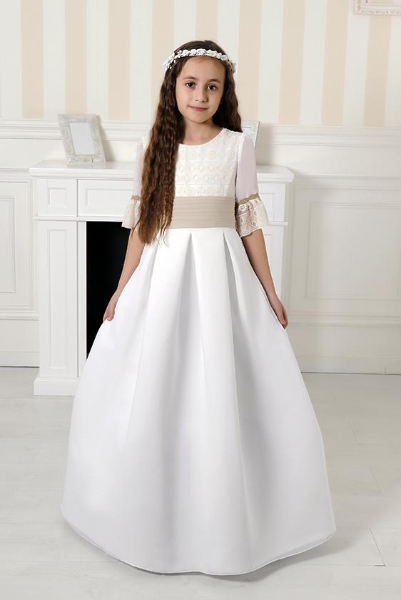 Vestido comunión fajín lino