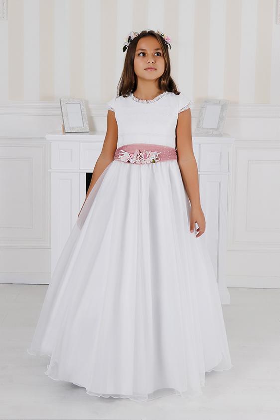 Vestido comunión clásico fajín rosa