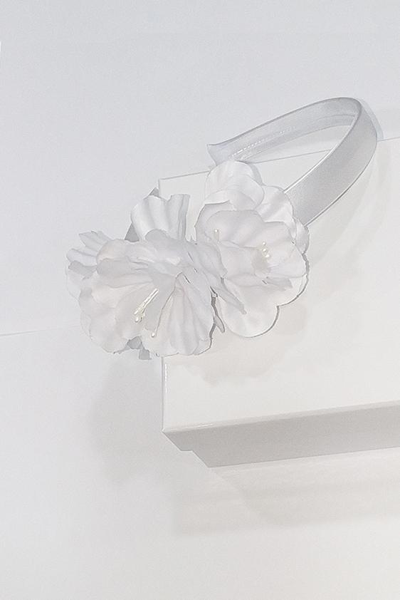 Diadema niña flor blanca
